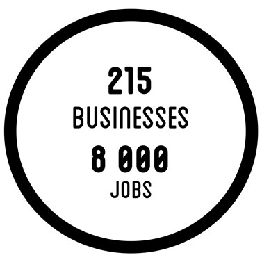 215 businesses - 8000 jobs