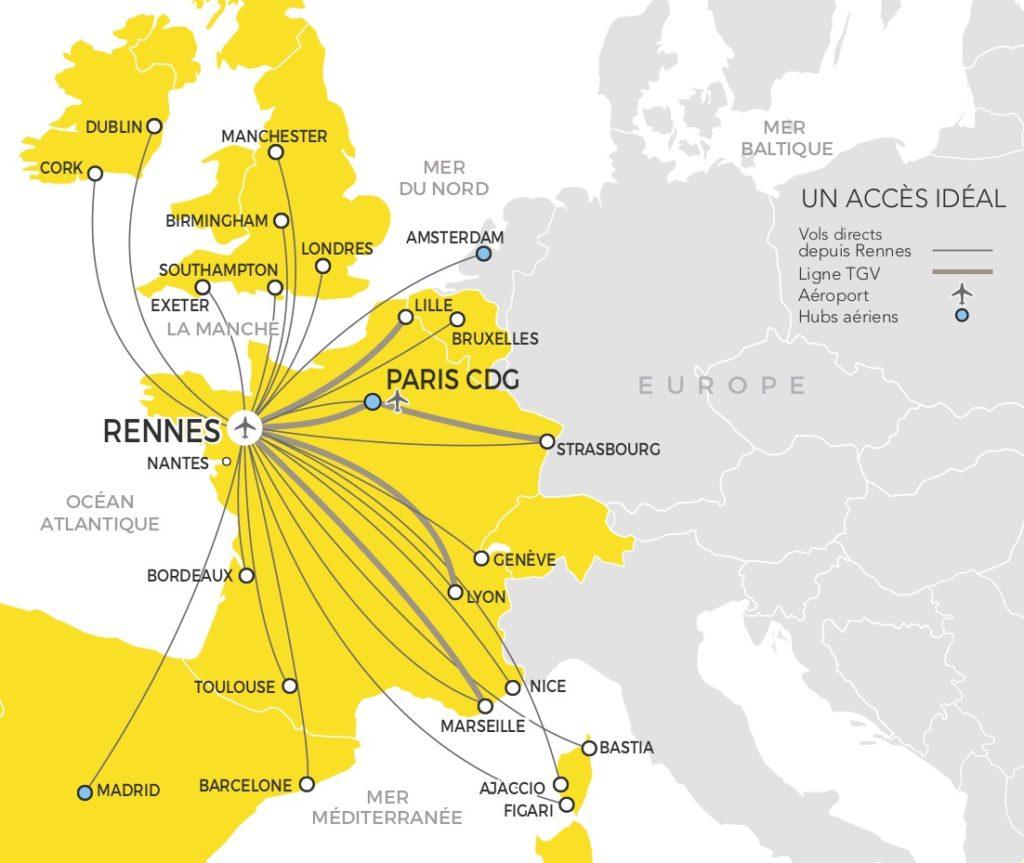 Rennes : une large desserte aérienne et autoroutière